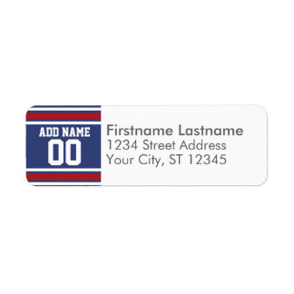 Blue Red Football Jersey Custom Name Number Return Address Label