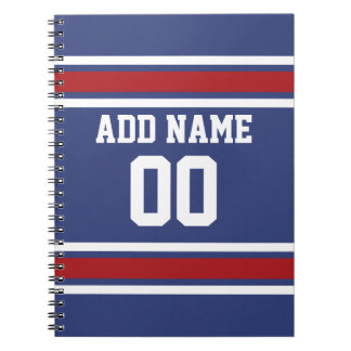 Blue Red Football Jersey Custom Name Number Spiral Notebook