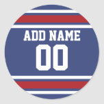 Blue Red Football Jersey Custom Name Number Classic Round Sticker