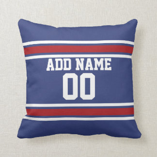 Blue Red Football Jersey Custom Name Number Throw Pillow