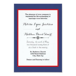 Blue & Red Framed - 3x5 Wedding Invitation