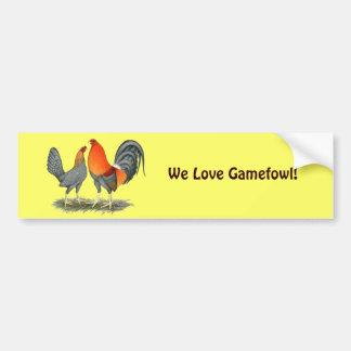 Blue Red Gamefowl Bumper Sticker