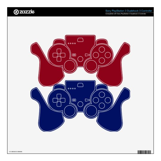 Blue & Red Gaming Controller Skins PS3 Controller Decals