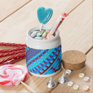 Blue Red Geo Abstract Aztec Tribal Print Pattern Candy Jar