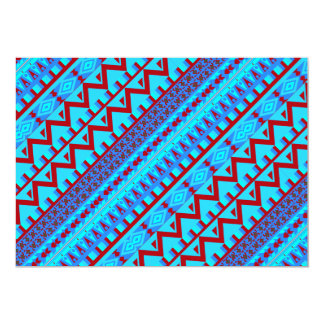 Blue Red Geo Abstract Aztec Tribal Print Pattern Card
