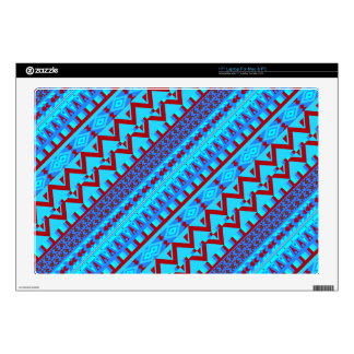 """Blue Red Geo Abstract Aztec Tribal Print Pattern Decal For 17"""" Laptop"""