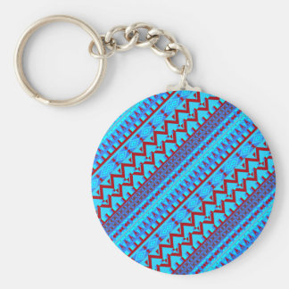 Blue Red Geo Abstract Aztec Tribal Print Pattern Keychain