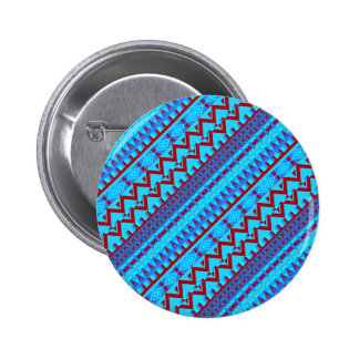 Blue Red Geo Abstract Aztec Tribal Print Pattern Pinback Button