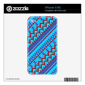 Blue Red Geo Abstract Aztec Tribal Print Pattern Skin For iPhone 4