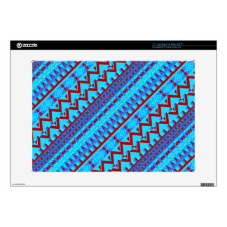 "Blue Red Geo Abstract Aztec Tribal Print Pattern Skins For 15"" Laptops"