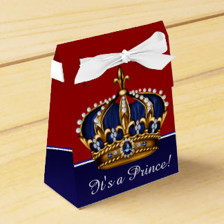 Blue Red Gold Crown Little Prince Boy Baby Shower Party Favor Boxes
