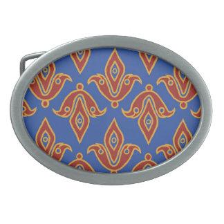 Blue, Red, Gold Fleur-de-Lys Pattern Belt Buckle