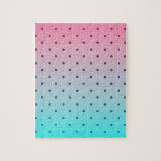 Blue Red Gradiant. Black Polka Dots Pattern Jigsaw Puzzles