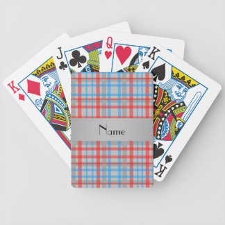 Blue red gray plaid personalized name bicycle playing cards