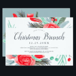 """Blue red green floral watercolor Christmas brunch Invitation<br><div class=""""desc"""">Let's celebrate Christmas brunch in style with this modern winter red green floral watercolor design with hand painted red,  green,  ice blue flowers,  pine branches,  mistletoe and leaf in bouquet arrangement. Perfect to celebrate a winter or Christmas party theme.</div>"""