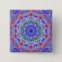 Blue Red Green Kaleidoscope Button