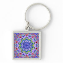 Blue Red Green Kaleidoscope Keychain