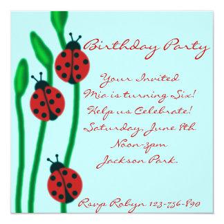 Blue Red & Green ladybug Birthday Invitation