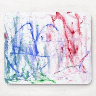Blue red green white abstract scribble design mousepad