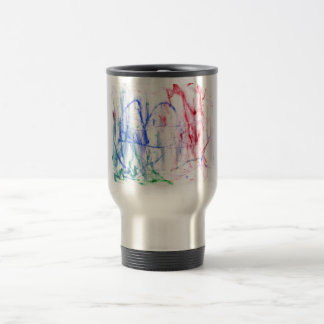 Blue red green white abstract scribble design travel mug