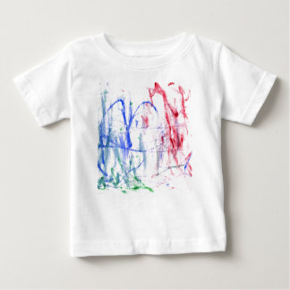 Blue red green white abstract scribble design tshirt