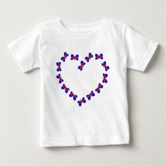 Blue & Red Heart Butterfiles Heart Baby T-Shirt