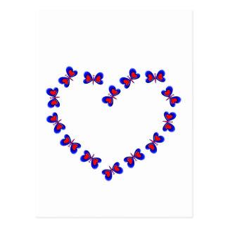 Blue & Red Heart Butterfiles Heart Postcard