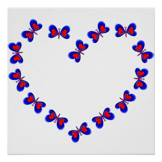 Blue & Red Heart Butterfiles Heart Poster
