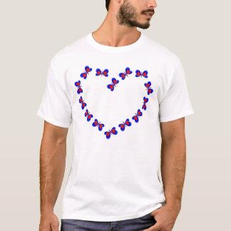 Blue & Red Heart Butterfiles Heart T-Shirt