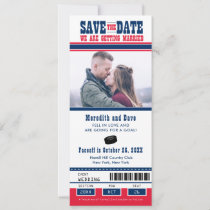 Blue Red Hockey Game Ticket Wedding Save the Date