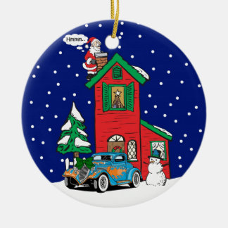 Blue Red Hot rod Gifts By Gear4gearheads Double-Sided Ceramic Round Christmas Ornament