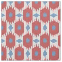 Blue red Ikat diamonds pattern fabric