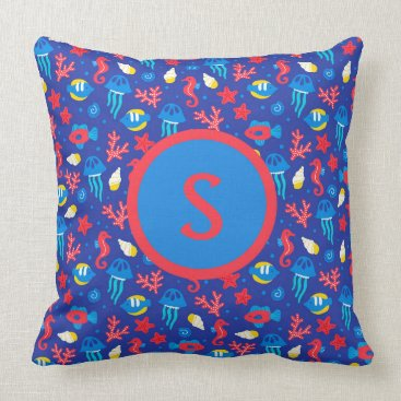 Beach Themed Blue Red Jelly Fish and Seahorses Monogram Throw Pillow