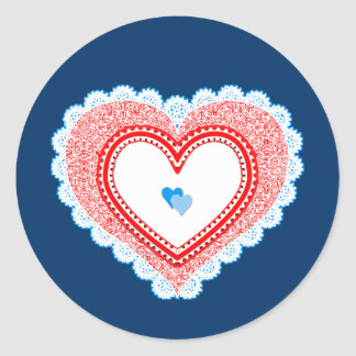 Blue Red Lacy Love Heart Classic Round Sticker