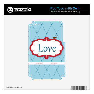 Blue/Red Love Bird iPod Touch 4G Decal