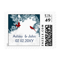 blue, red lovebirds postage