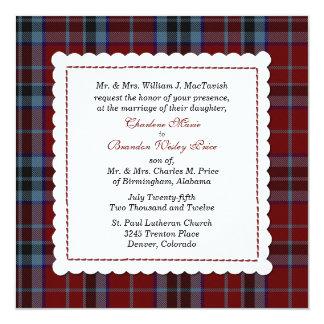 Blue & Red MacTavish Tartan Plaid Custom Wedding Invitation