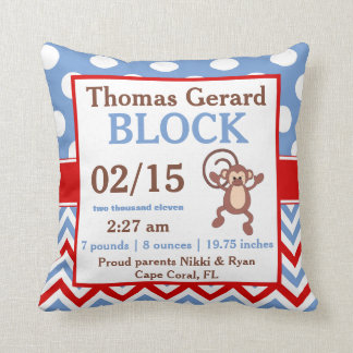 Blue Red Monkey Personalized Baby Announcement Throw Pillow