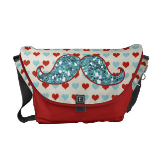 BLUE RED MUSTACHE AND HEARTS GLITTER COURIER BAGS