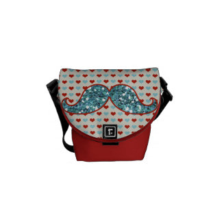 BLUE RED MUSTACHE AND HEARTS GLITTER MESSENGER BAGS