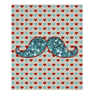 BLUE RED MUSTACHE AND HEARTS GLITTER POSTER