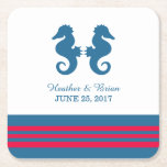 """Blue Red Nautical Seahorse Paper Coasters<br><div class=""""desc"""">Elegant and classic Nautical Seahorse Wedding Paper Coasters with a pair of simple seahorses and an array of stripes in dark navy blue and red. These nautical beach themed coasters can be easily customized with your wedding details. For more customization options,  click on the Customize It button.</div>"""