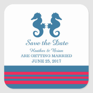 Blue Red Nautical Seahorse Save the Date Square Sticker