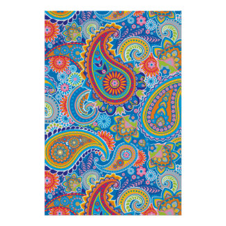 Blue, red, orange and yellow paisley poster