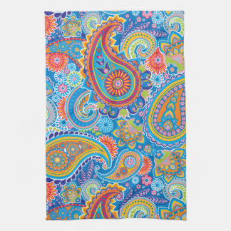 Blue, red, orange and yellow paisley towel