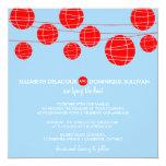 "Blue & Red Paper Lanterns Wedding Invitation 5.25"" Square Invitation Card"