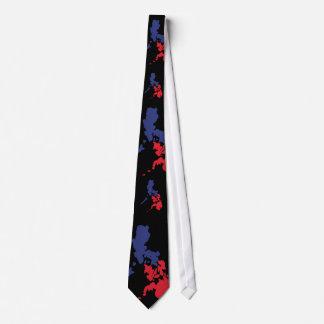 Blue & Red Philippine Map Neck Tie