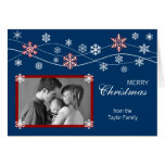 Blue & Red Photo Holiday Greeting Card Template