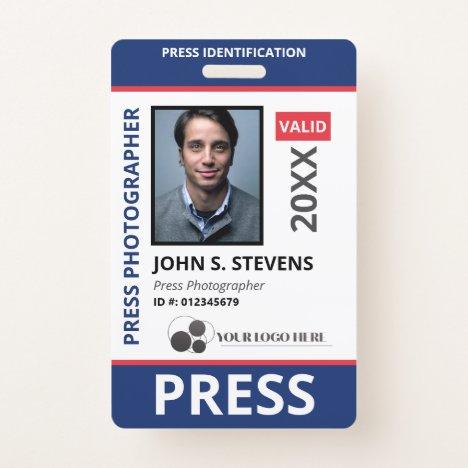 Blue Red Photo & Logo Press ID Badge