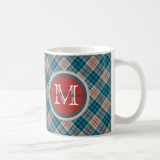 Blue Red Plaid Background Monogram Coffee Mug